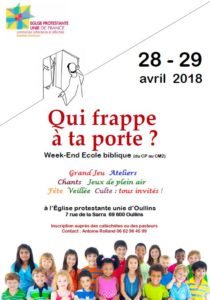 Week-end Ecole biblique en Avril 2018