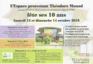L'espace Théodore Monod fête ses 10 ans les 13 et 14 Octobre