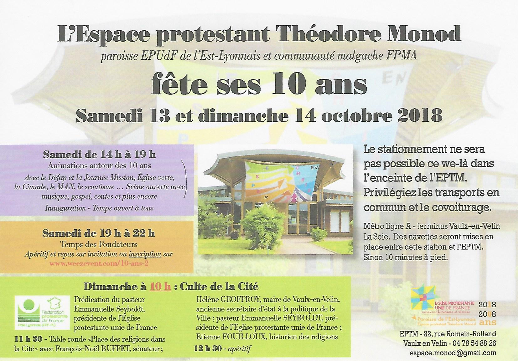 Les 10 ans Theodore Monod, le weekend du 13 et 14 Octobre