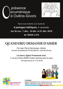 Présence œcuménique à Oullins-Givors – 4 nouveaux partages bibliques
