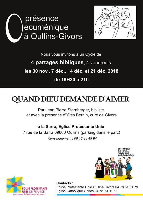 Présence œcuménique à Oullins-Givors - 4 nouveaux partages bibliques