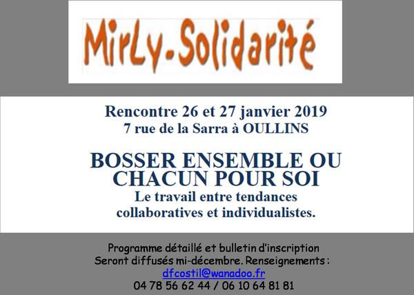 Comme chaque année depuis 30 ans, la RENCONTRE MIRLY se tiendra à OULLINS les 26 et 27 janvier 2019