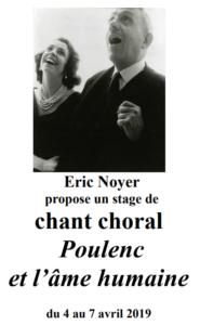 Stage de chant choral «Poulenc et l'âme humaine» du 4 au 7 avril 2019 & concert