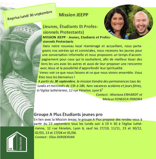 Mission JEEPP*, reprise le 30 Septembre