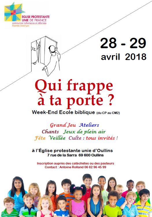 Week end Ecole Biblique les 28 et 29 Avril 2018 à la Sarra
