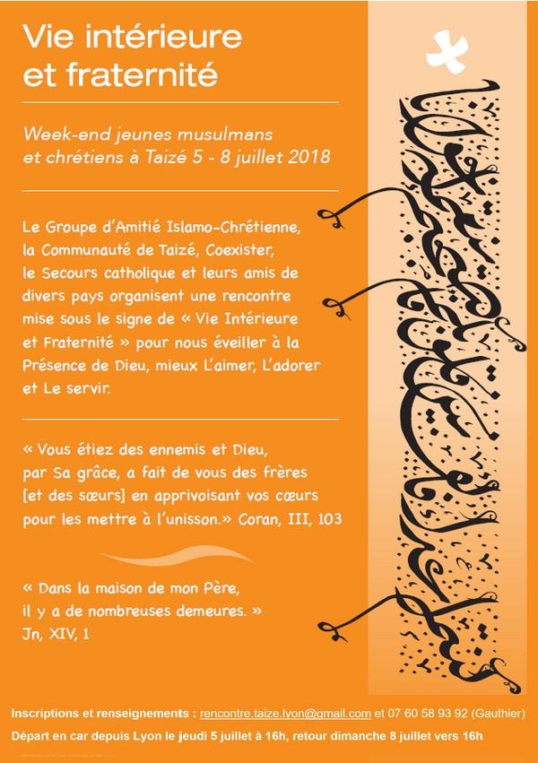 Du 5 au 8 Juillet, WE amitie jeunes Chétiens et Musulman