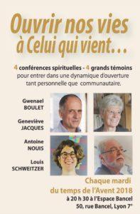 Ouvrir nos vies à celui qui vient : 4 Conférences spirituelles – 4 grands témoins