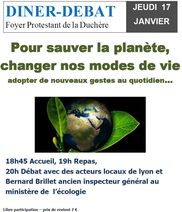 """Diner Débat le 17 Janvier 2019 : """"Pour sauver la planète, changer nos modes de vie"""""""
