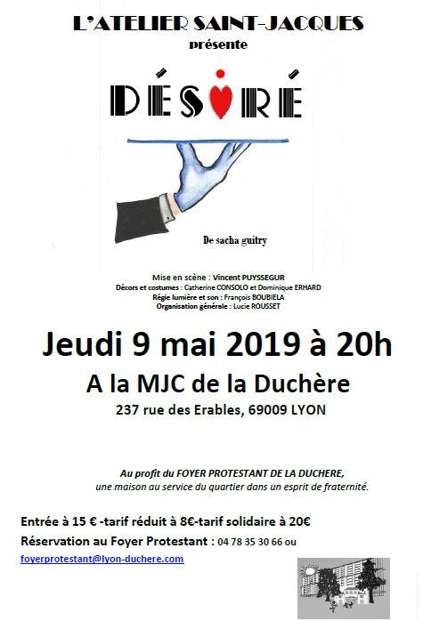 """""""Desiré"""" De Sacha Guitry le 9 Mai 2019 au profit du foyer de la Duchère"""