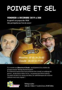 Vendredi 6 décembre, Apéro-concert avec «Poivre et Sel»