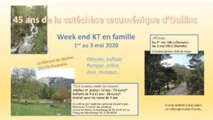 Week End KT 2020, du 1er au 3 Mai 2020
