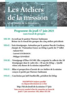 DEFAP : Les ateliers de la mission, jeudi17 Juin